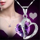 Romantic Women's Heart Crystal Rhinestone Silver Chain Pendant Necklace Jewelry