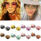 Charm Women Large Oversized Cat Eye Sunglasses Flat Mirrored Lens Metal Frame FT