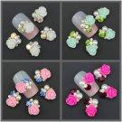10PCS Lots DIY 3D Clear Alloy Rhinestone Pearl Flower Nail Art Slices Decor Gift