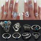 8PCS Vintage Rings Tribal Turquoise Hippie Gothic Elephant Snake Stacking Rings