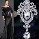 Modish Silver Large Flower Bridal Brooch Rhinestone Crystal Wedding Broach Pin