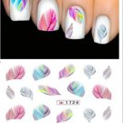 Beautiful Nail Stickers Cute Fantasy Rainbow Feather Water Transfer Decals FT45