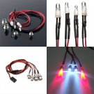 4 LED NEW Style RC On-Road Car LED Night 5mm White And 3mm Red Headlamps Light