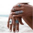 9PCS/Set Boho Style Silver Punk Vintage Ring Womens Retro Geometry Finger Rings