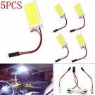 5PCS COB 18-LED Plate Car Interior Dome White Light Bulb T10 Festoon 12V Lights
