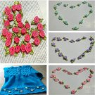 100PCS Lovely  Ribbon Rose DIY Wedding Flower Decor Bow Appliques Sewing Craft