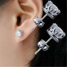 Charm Hot Men Women Crystal Crown Charm Earrings Silver Ear Studs Jewelry Gift F
