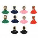 1 Pair Fashion Charm Women Jewelry Rhinestone Ear Stud Earrings Crystal Tassel