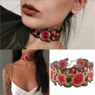 Fashion Women Boho Printed Flower Embroidery Choker Necklace Jewelry Collar Gift