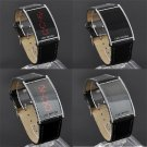 Amazing Cool LED Date Digital Black Leather Strap Stainless Steel Wrist Watch FT