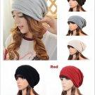 Unisex Stylish Plicate Baggy Beanie Fold Knit Crochet Ski Oversize Slouch Cap FT