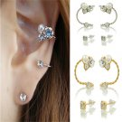 1 Pair Women Elegant Sweet Pearl Rhinestone Ear Clip Ear Stud Wedding Earrings F