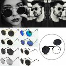 Fashion Men Women Steampunk Goggles Round Metal Flip Up Sunglasses Eyewear Lens