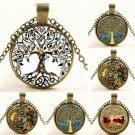 Fashion Retro Tree of Life Glass Cabochon Bronze Chain Pendant Necklace Jewelry