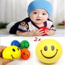 2PCS Fun Smiley Face Anti Stress Reliever Ball Stressball Autism Mood Squeeze FT