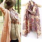 Women Elegant Cotton Voile Print Scarf Wrap Lady Long Shawl Large Scarves Stole