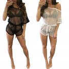 Women Bathing Suit Lace Crochet Bikini Swimwear Cover Up Beach Dress Black White