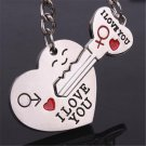 Sweet Valentine's Day Lover Love Couple Gift Heart Key Keychain Keyring Set FT67