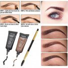 2PCS Brown Waterproof Tint Eyebrow Henna With Mascara Eyebrows Paint Brush New