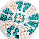 120PCS 3D DIY Nail Art Tips Decor Square Round Glitter Glass Rhinestone Wheel FT