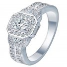 Fashion Women Clear Gemstone Ring 18K Silver Plated Engagement Bride Jewelry FT