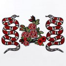 Cool DIY Snake Peony Pattern Embroidered Applique Patches Decoration Sew on Red