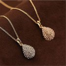 1PC Women Gold/Silver Plated Teardrop Rhinestone Chain Crystal Pendant Necklace
