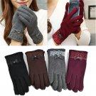 1 Pair Women's Bow Soft Touch Screen Cotton Warm Winter Mittens Gloves Fashion