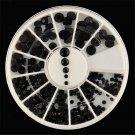 4 Sizes 3D DIY Nail Art Tips Charm Black Crystal Rhinestones Decoration Wheel FT