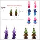 Charm Women Three Color Tassel Hook Fringe Boho Dangle Drop Earrings Jewelry