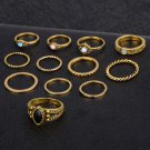 12Pcs/Set Vintage Women Gold Silver Boho Finger Knuckle Rings Jewelry Gift FT