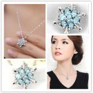 Valentine's Day Gift Lady Blue Crystal Snowflake Frozen Flower Necklace Pendant