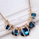 Elegant Women Jewelry Crystal Pendant Choker Chunky Statement Bib Blue Necklace