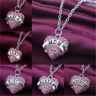 Sweet Family Xmas Gifts Crystal Love Heart Pendant Necklace Chain Jewelry FT78