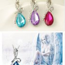 Charm Waterdrop Pendant Girl Rhinestone Chain Crystal Necklace Gift Jewelry FT67
