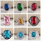 Fashion Gold Plated Size 7-10 Gemstone Silver Wedding Band Ring White Jewelry FT