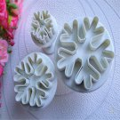 3X Cute Snowflake Fondant Cake Decorating Sugarcraft Cutter Plunger Mold Mould F