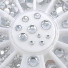 5 Sizes Charm Nail Art Tips Decoration 3D Clear White Glitter Rhinestones DIY FT