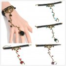 Fashion Gothic Women Lace Flower Hand Slave Harness Bracelet Chain Ring Jewelry