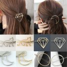 Fashion Women Gold Silver Geometry Moon Round Hairpin Hair Clip Hair Accessories