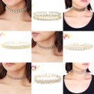 Fashion Gold Choker Collar Beads Crystal Pendant Chain Necklace Gift For Ladies