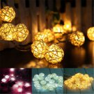 20 LED Lots Rattan Ball String Light Fairy Lamp Wedding Party Home Garden Decor