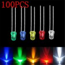 100PCS 3mm Lots White Green Red Blue Yellow LED Light Bulb Emitting Diode Lamp