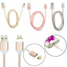 For Android Samsung 2.4 A Micro USB Magnetic Charging Metal PC Cable Charger New