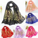 Charm Women Gold Peacock Flower Print Long Scarf Wrap Shawl Scarves Stole FT52