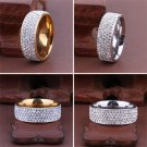Sz8-10 Unisex Men/Women's CZ Stainless Steel Ring Wedding Band Rings Gold Silver