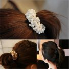 Women Stylish Pearls Beads Hair Band Rope Scrunchie Ponytail Holder Elastic FT88