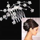 1PC Bridal Bridesmaid Wedding Plum Flower Crystal Rhinestone Hair Comb Headpiece