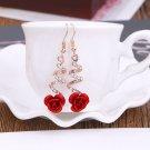 New Fashion Women Gold Crystal Red Rose Flower Earrings Hook Dangle Drop Jewelry