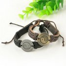 Fashion Vintage Men Yin and yang Wrap Leather Infinity Charm Retro Bracelet FT
